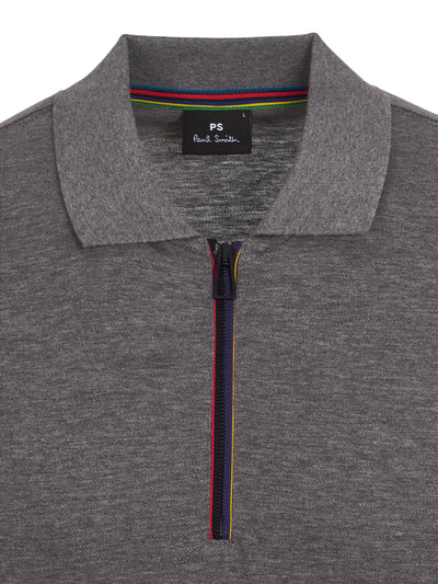 Grey Zip Polo Shirt