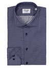 Navy Micro Pattern Fitted Shirt