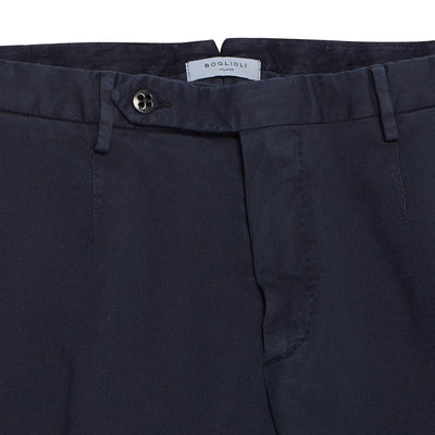 Navy Cotton Slim Fit Trousers