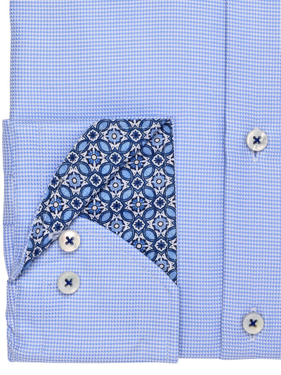 Sky Blue Gingham Fitted Shirt