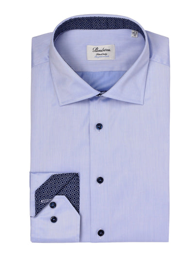 Sky Blue Contrast Fitted Shirt