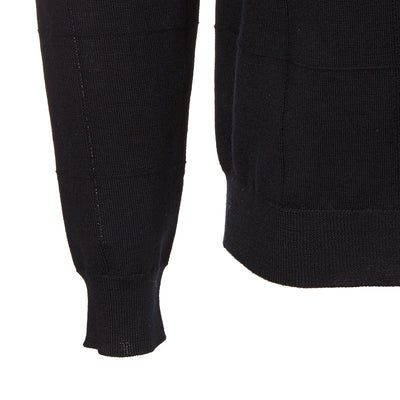 Black Panelled Wool Jumper
