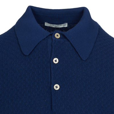 Blue Rib Knitted Polo Shirt