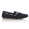 Navy and White Braided Lace Loafers