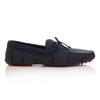 Navy and Deep Red Braided Lux Driver Loafers