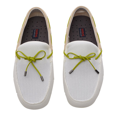 White and Green Oasis Braided Lux Driver Loafers