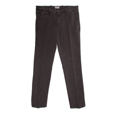 Brown Cotton Stretch Slim Fit Trousers