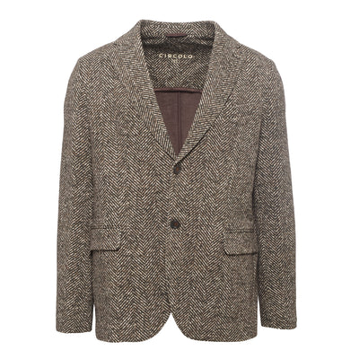 Grey-Brown Herringbone Blazer