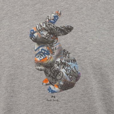 Grey Graffiti Rabbit Print Organic Cotton T-Shirt