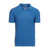 Light Blue Rib Knitted Polo Shirt
