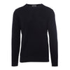 Navy Long-Sleeved Knitted Crew Neck Top