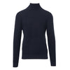 Navy Knitted Cotton Roll Neck Top