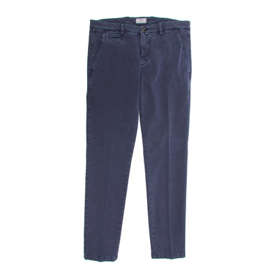 Navy Cotton Stretch Slim Fit Trousers