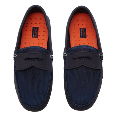 Navy Penny Loafers
