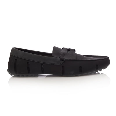 Black and Grey Penny Lux Driver Loafers