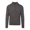 Grey Merino Long-Sleeved Polo Shirt