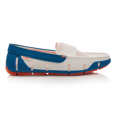 White and Seaport Blue Stride Band Loafers