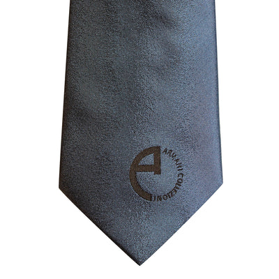 Navy Branded Silk Tie