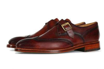OAKE COGNAC TAMPONATO CALF LEATHER MONK SHOE