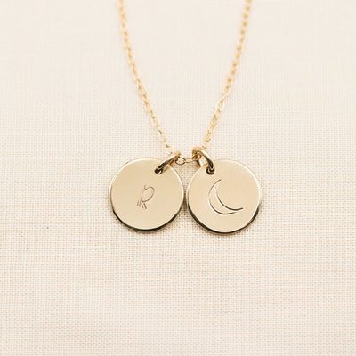 Multi Dainty Disc Necklace - 1/2""