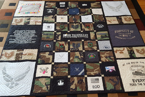 Military Uniform & T-shirt Quilt