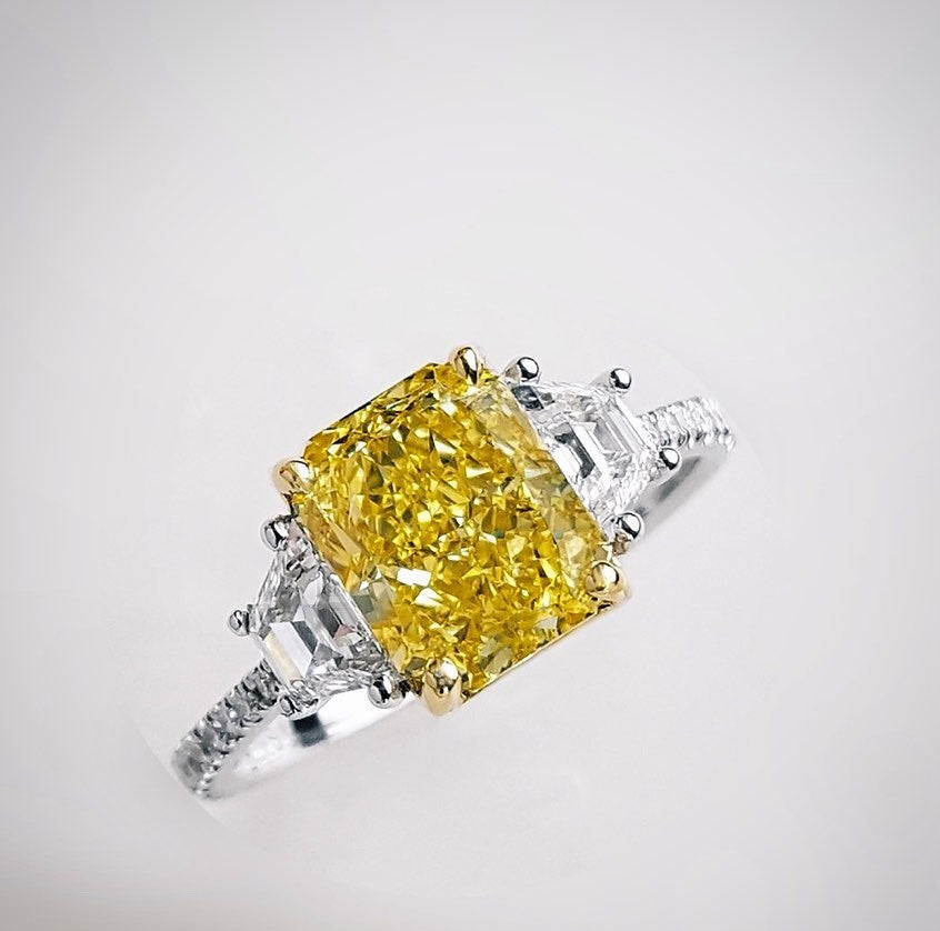 5 CT Asscher Cut Yellow Sapphire Engagement Ring in ...