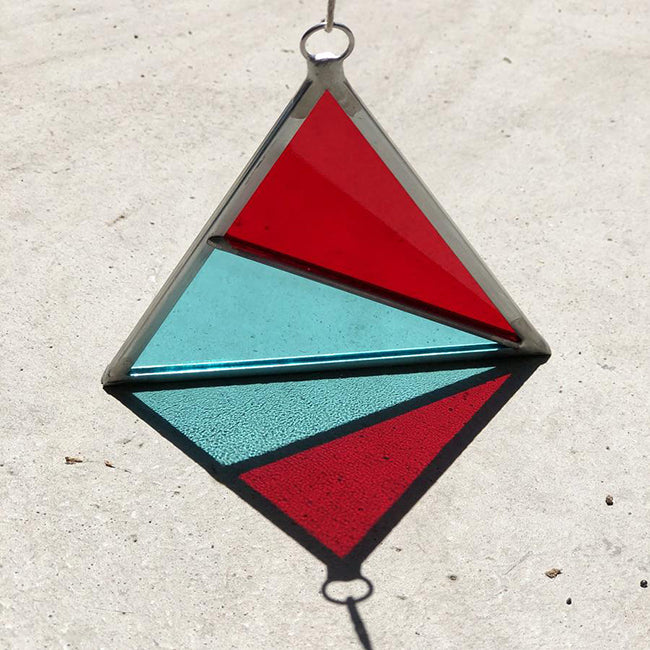 Debbie Bean - Stained Glass Triangle Ornament - Red / Turquoise