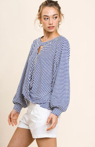 Striped Keyhole Top