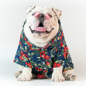 WONTON DESIGN Aloha Summer shirt with short sleeve in navy - WontonCollection
