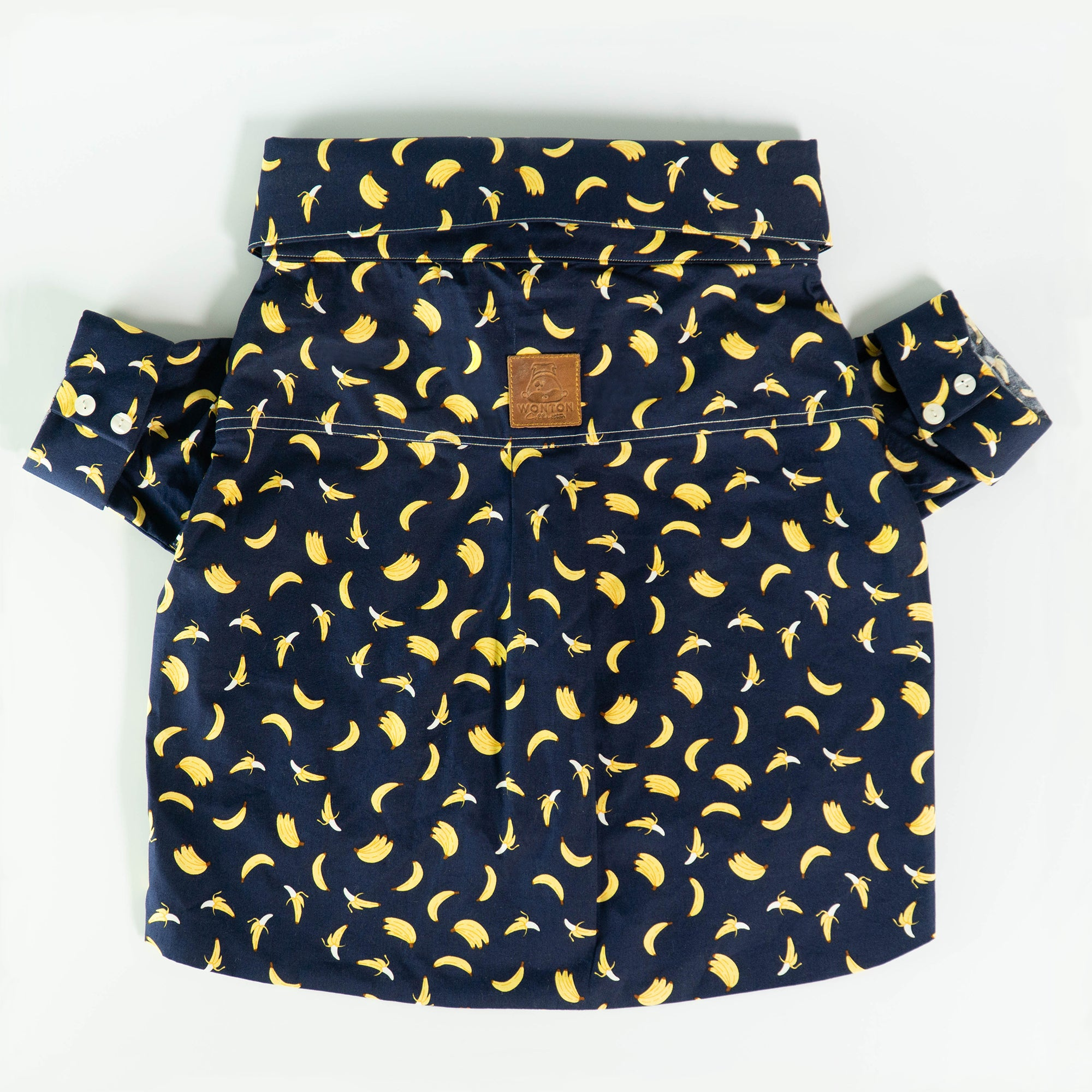 WONTON DESIGN regular fit banana shirt with rolled up sleeve in navy - WontonCollection