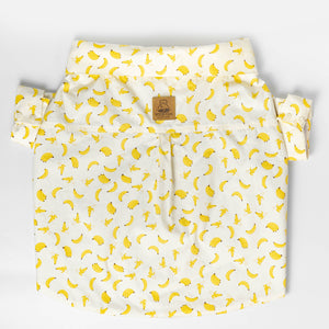 WONTON DESIGN regular fit banana shirt with rolled up sleeve in white - WontonCollection