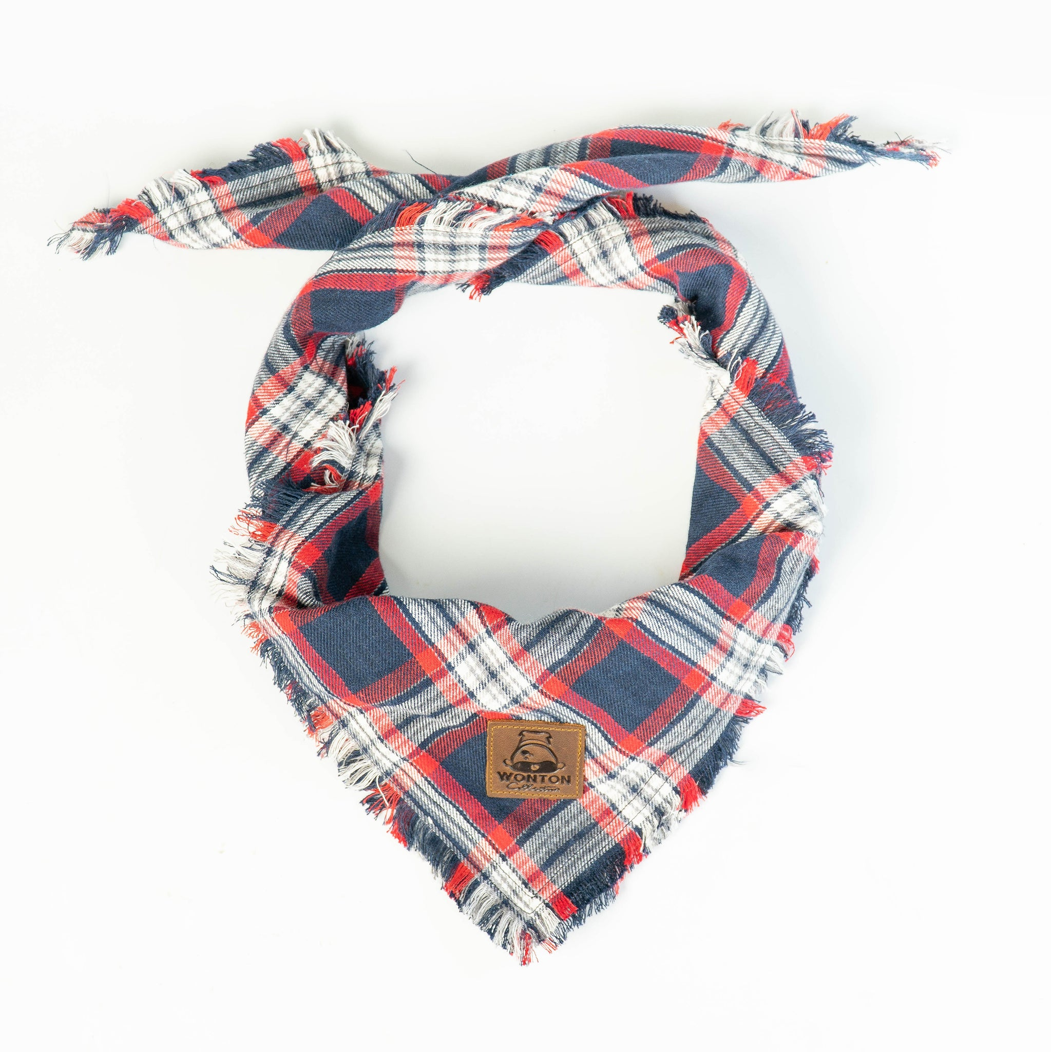 WONTON DESIGN Red and navy flannel bandana - WontonCollection