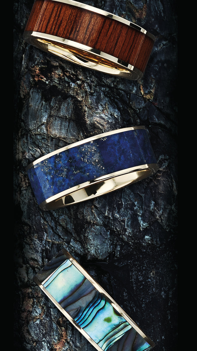 14K Gold flat wedding ring with blue lapis lazuli inlay