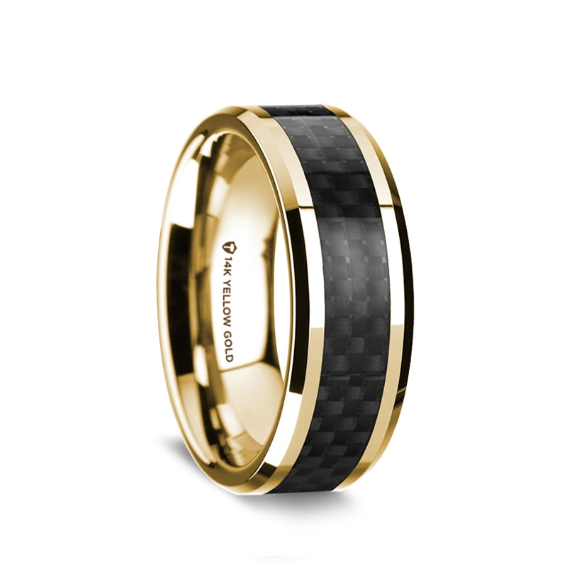 14K Gold men's wedding band with black carbon fiber inlay and beveled edges.
