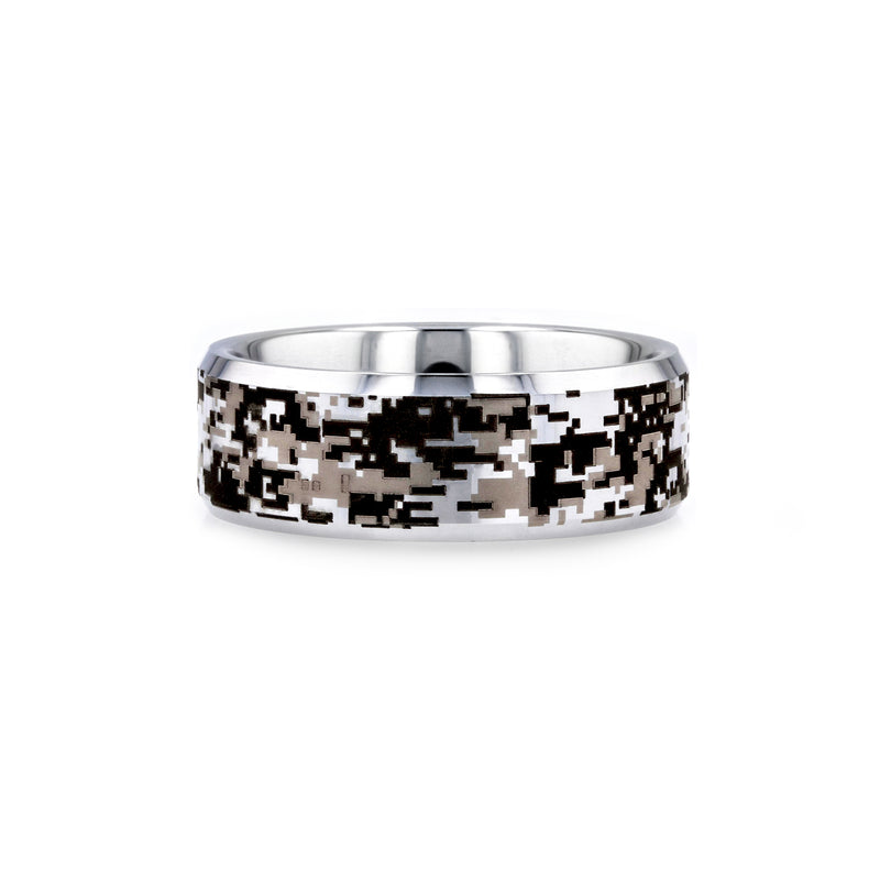 Tungsten Carbide men's wedding ring with engraved digital camo pattern and beveled edges