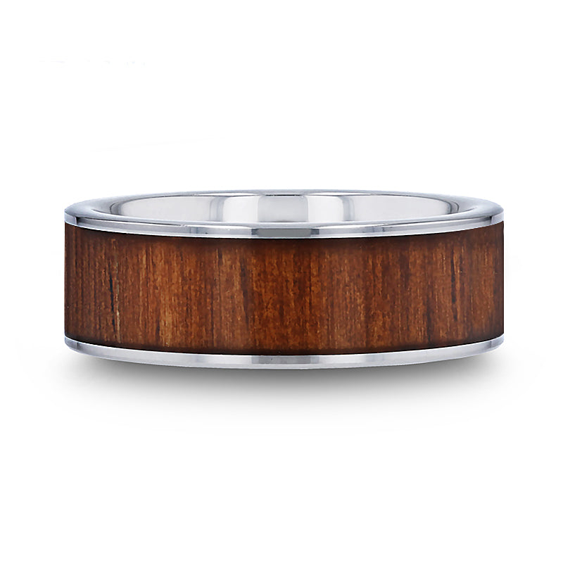 Tungsten Carbide flat wedding ring with rare koa wood inlay and polished edges.