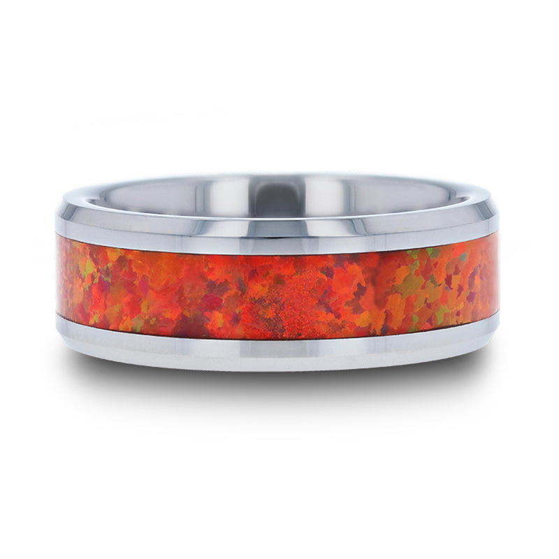 Tungsten men's wedding band with red opal inlay and beveled edges.
