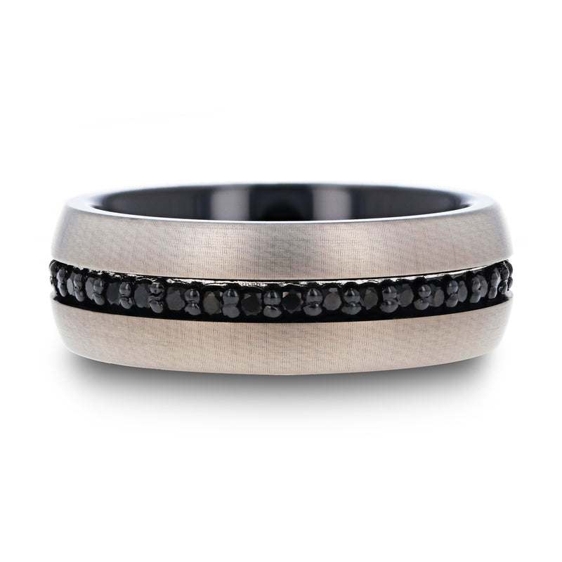 Gunmetal Tungsten men's wedding ring with black sapphires and brushed finish