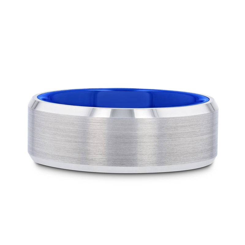 White Tungsten men's wedding ring with brushed center, blue interior, and beveled edges