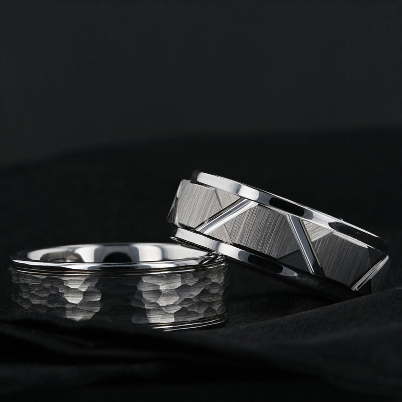 Tungsten ring with triangle angle grooves and raised center