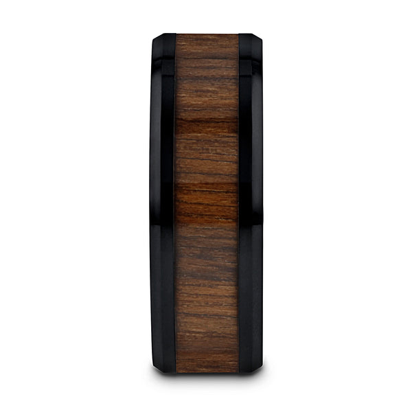 Black Ceramic men's wedding ring with black walnut wood inlay and beveled edges.