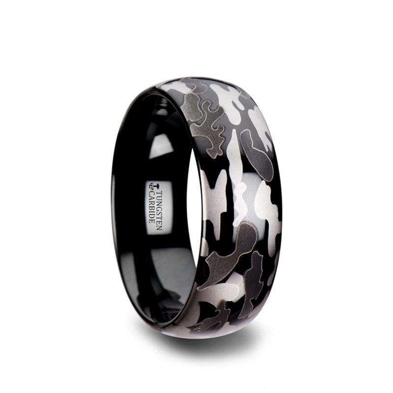 Tungsten Carbide domed wedding ring with black and grey camo