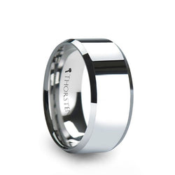 Tungsten Carbide men's wedding ring with brushed finish and beveled edges.