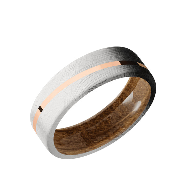 Marble Damascus flat men's wedding band with 1mm angled 14K solid rose gold inlay featuring a whiskey barrel wood sleeve.