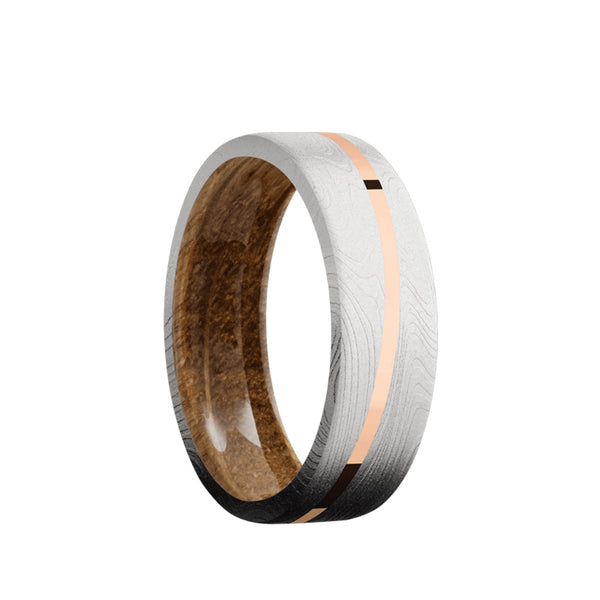Marble Damascus flat men's wedding band with 1mm angled 14K solid rose gold inlay featuring a whiskey barrel wood sleeve