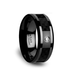 Black Ceramic men's wedding band with diamond setting, black carbon fiber inlay and beveled edges.