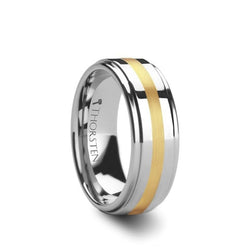 Tungsten men's wedding ring with raised center and gold inlay.