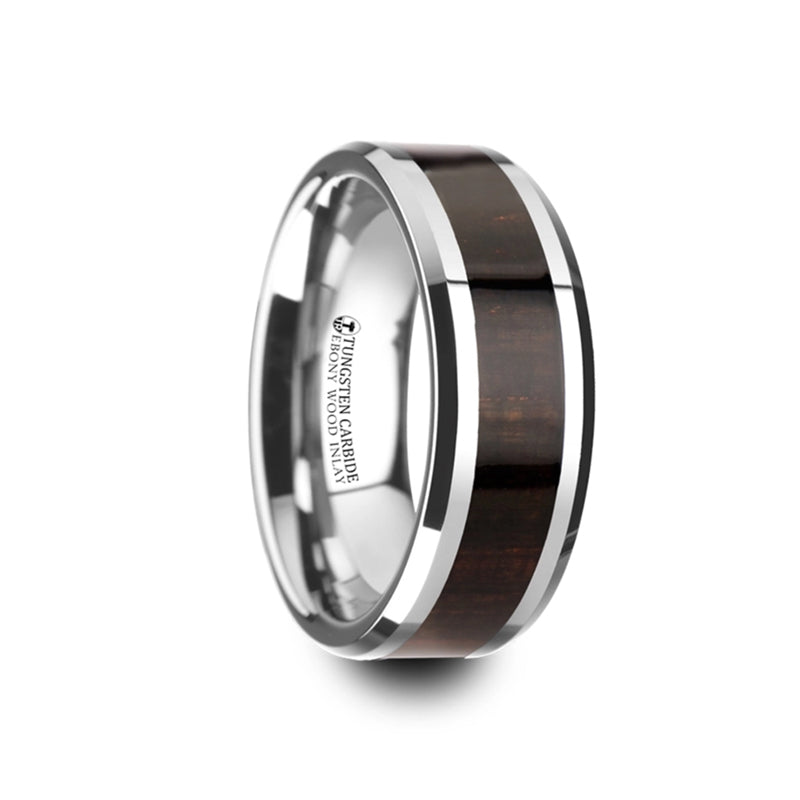 Tungsten Carbide ring with ebony wood inlay and polished edges