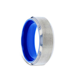 Titanium wedding ring with blue interior, brushed center, and beveled edges.