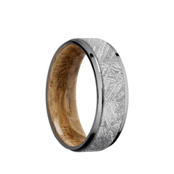 Tantalum men's wedding band with 5mm of authentic meteorite and stepped edges featuring a whiskey barrel sleeve.